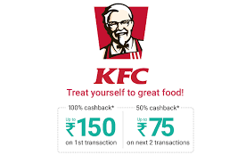 Get 100% cashback upto Rs.150 on 1st Transaction at KFC via PhonePe.