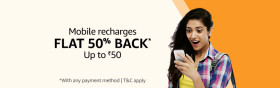 Recharge Offer: Get 50% Cashback With Amazon Pay