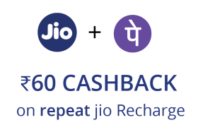 Get Flat Rs 60 cashback on Repeat Jio Prepaid Recharge