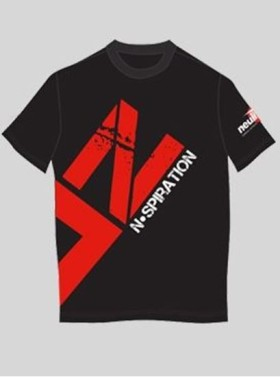 Nspiration Mens T-shirt Dark Grey with Red logo L @Rs.249