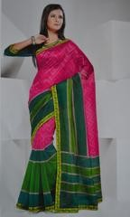 Pink and Green Colour Soft Cotton Saree @ Rs.699