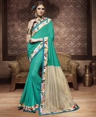 Rama Green Color Fancy Material Party Wear Sarees @Rs.1299