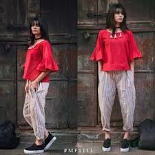 Get 42% + Extra 15% Off On Khadi Cotton Red Top With Grey Stripe Pants