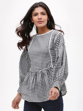 Avail 20% OFF On Gingham Peplum Top At Koovs