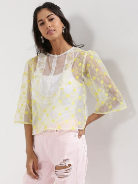 Avail 40% OFF On Embroidered Organza Ruffle Top At Koovs