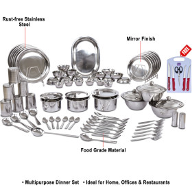 Get 66% Off On Stainless Steel Dinner Set + Free Knife Set