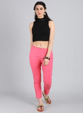 Buy Pink Fitted Trousers At Just Rs 720