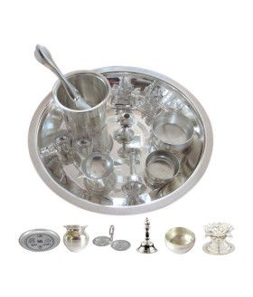 Avail Flat 63% Off On German Silver Puja Thali