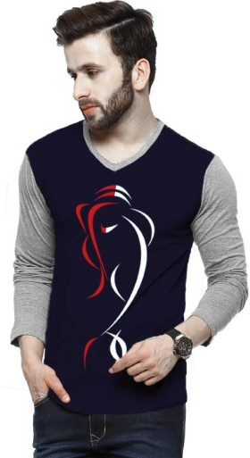 Enjoy 62% Discount On Tripr Printed Men V-neck Multicolor T-Shirt