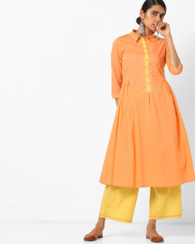 Flat 70% Off On A-line Kurta With Embroidered Placket