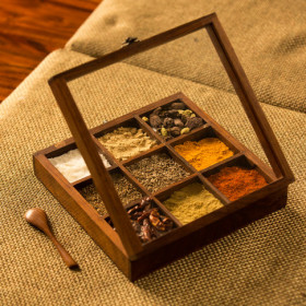 Get Flat 26% Off On  Sheesham Wood Square Spice Box With Spoon