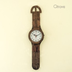 Grab 14% Off + 10% Cashback Using Pay Via Paytm On Wrist Watch Pattern Rosewood Wall Clock