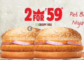 Try 2 Crispy Veg Burgers At Rs 59/- Only