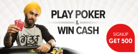 Get Rs 500 On Signup + Rs 800 More On Deposit Of Rs 100 To Play Poker.