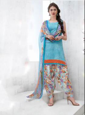 Flat 30% OFF On Sky Blue Color Cotton Blend Printed Unstitched Straight Suit