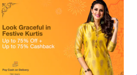 Upto 75% Off + 75% Cashback On Kurtis