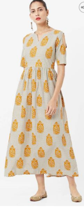 Printed A-line Kurta With Cut-Out Sleeves @Rs. 700