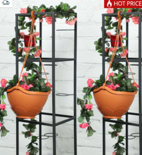 Purchase Brown Polypropylene Hanging Planter By Rajesh- Set of 2 @Rs 99/-