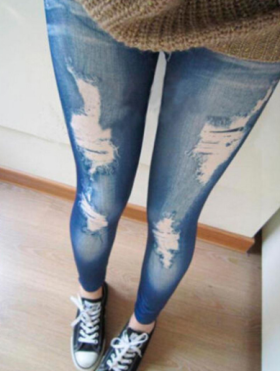 Buy Women Ripped Denim Skinny Leggings Jean For Just Rs 290/-