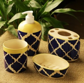 Enjoy 25% OFF On 'Moroccan Essentials' Hand Painted Ceramic Bathroom Accessory