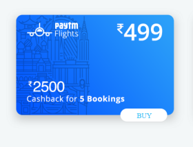 Purchase Paytm Flight Travel Card @Rs 499/- And Redeem Huge Cashbacks.