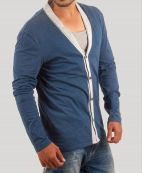 Get 30% OFF On Blue Shawl Collar T-shirt With Inner Vest At Boer And Fitch