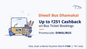 Upto Rs 251/- Cashback On Bus Ticket Booking