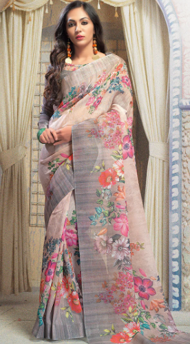 Flat 55% Off On Digital Print Linen Saree With Blouse