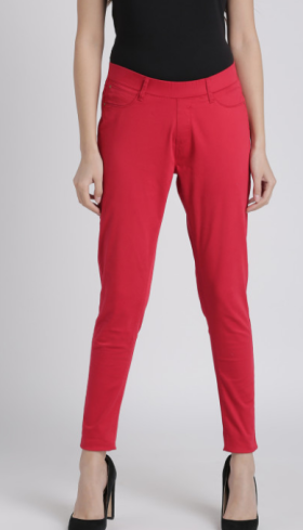 Buy Women Red Solid Jeggings @60% Off