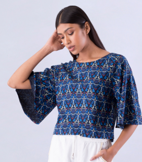 Flat 70% Off On Peacock Printed Blue Raglan Top