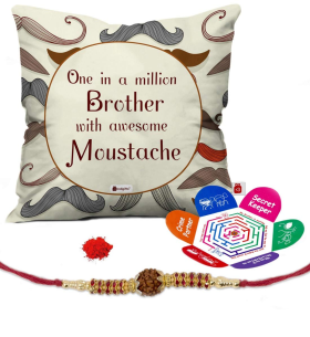 Raksha Bandhan Offer: Moustache Printed Cushion Cover At 84% OFF