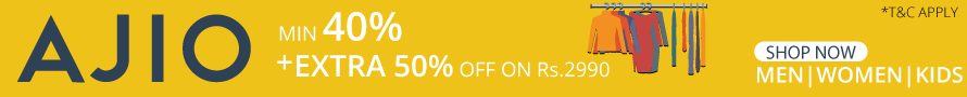Get Min 40% + Extra 50% Off on Ajio on Purchase Value of Rs. 2990